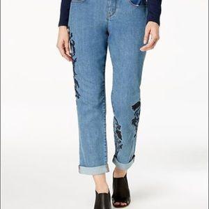 Petite Embroidered Boyfriend Jeans straight leg